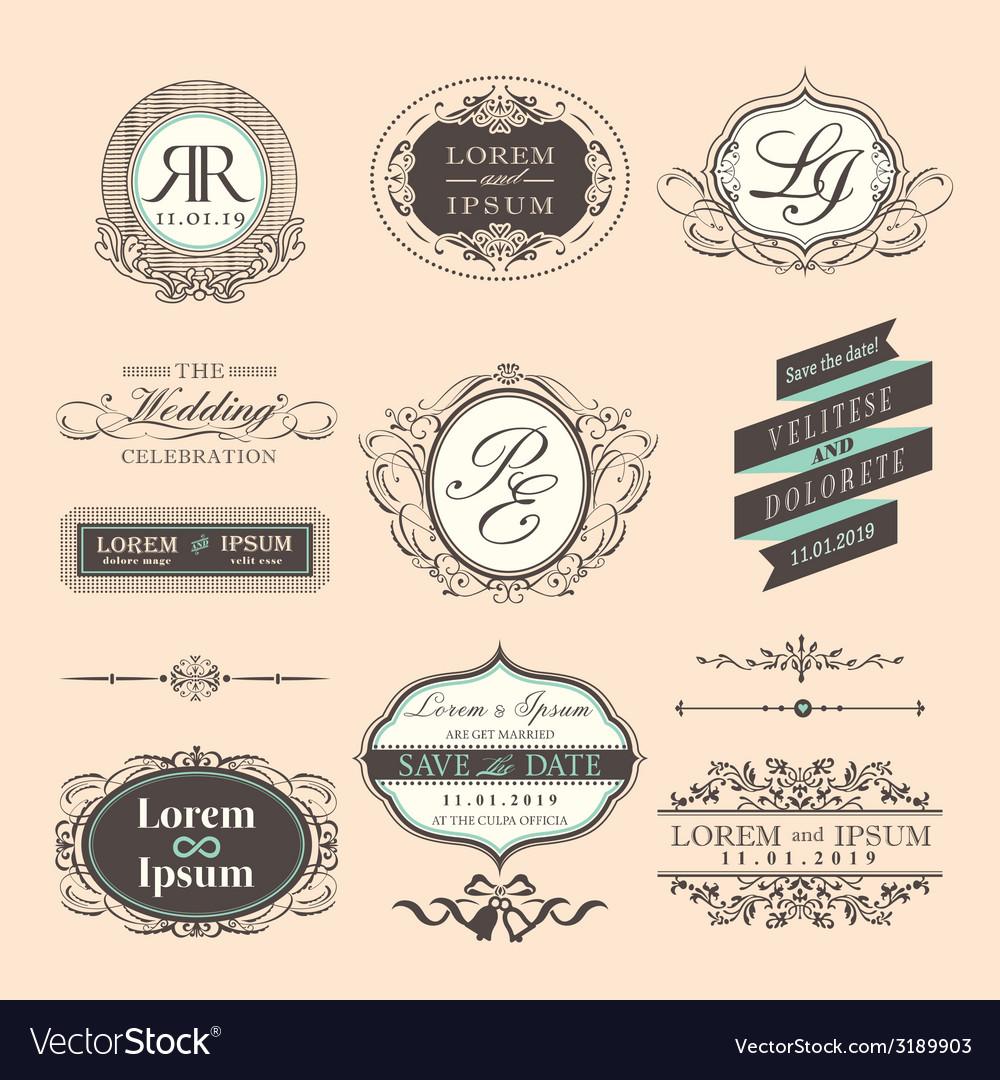Vintage Style Wedding symbol border and frames