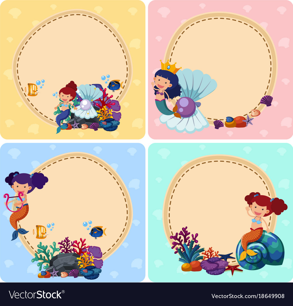 border templates with mermaids and sea animals vector image