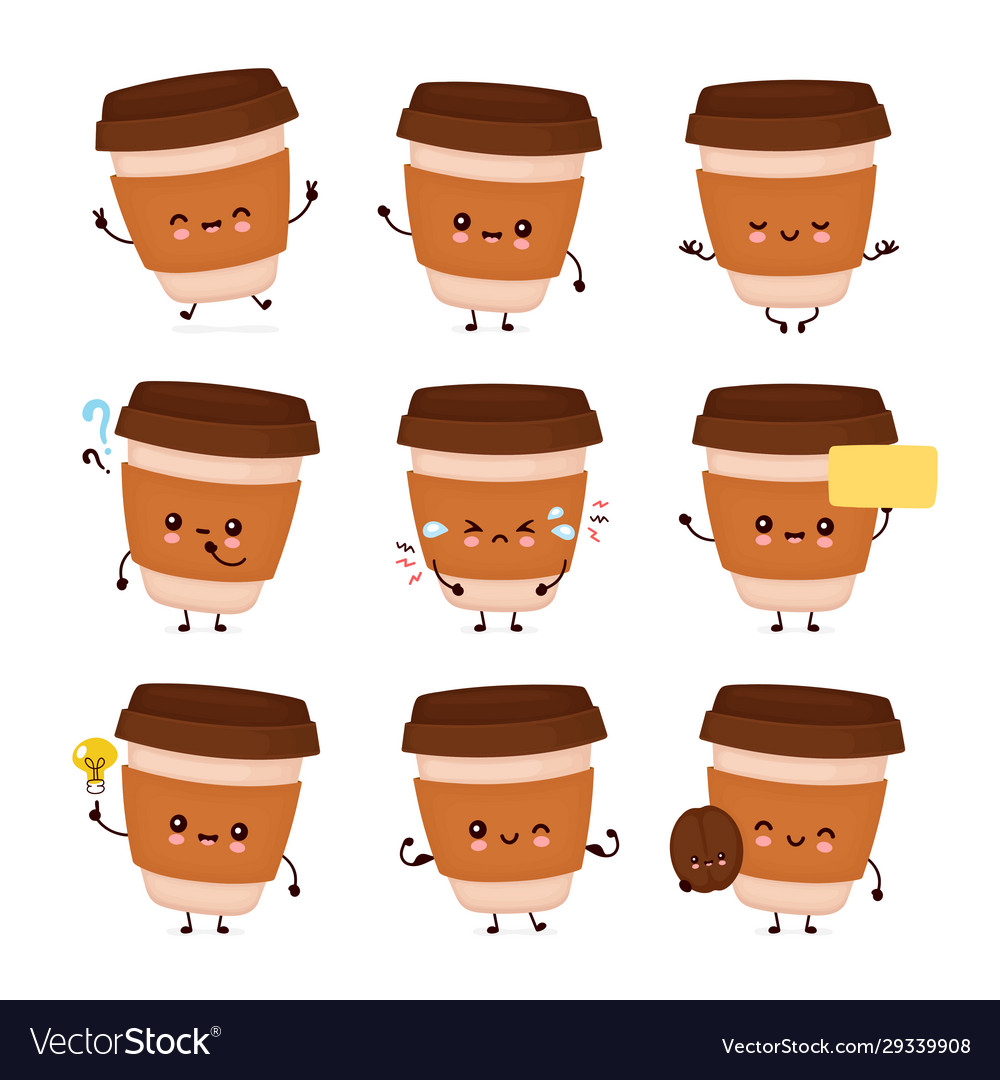 Cute Happy Coffee Paper Cup Set Royalty Free Vector Image