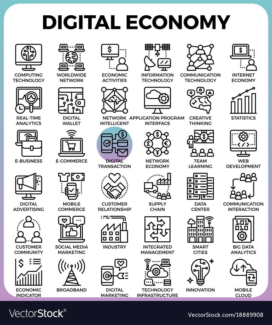 Digital economy concept icons