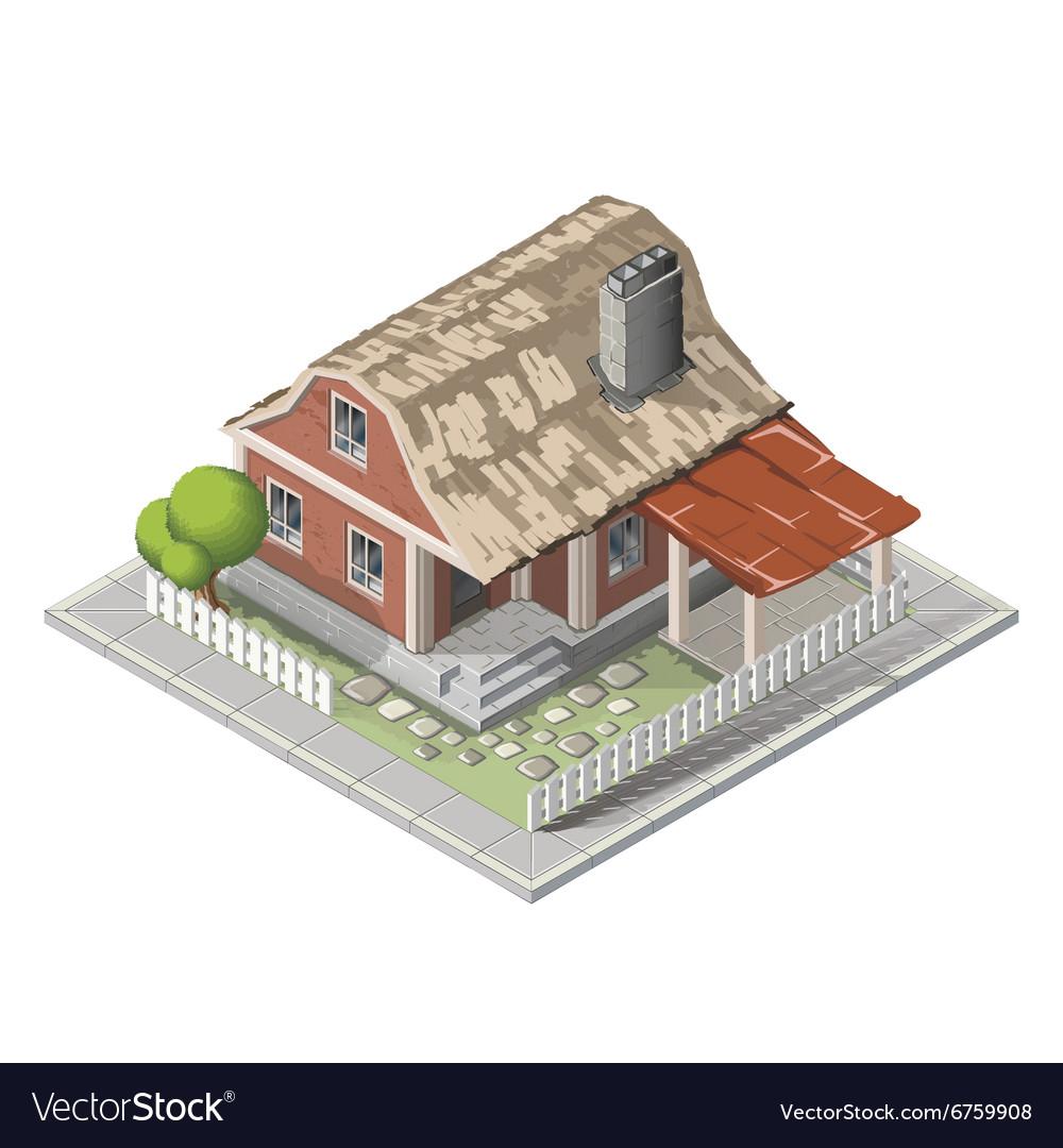 Farm isometric building farmhouse