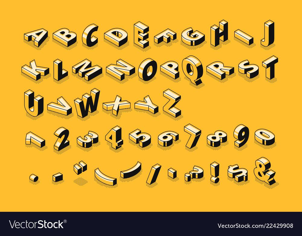 Isometric font letters halftone