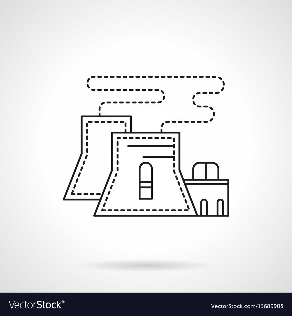 Nuclear Power Plant Flat Line Icon Royalty Free Vector Image Diagram