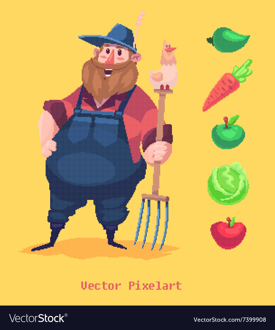 Pixel funny farmer character Isolated on yellow