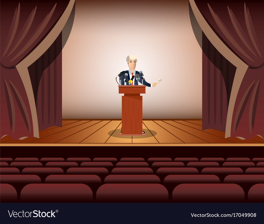 Public speaker standing and speaking to