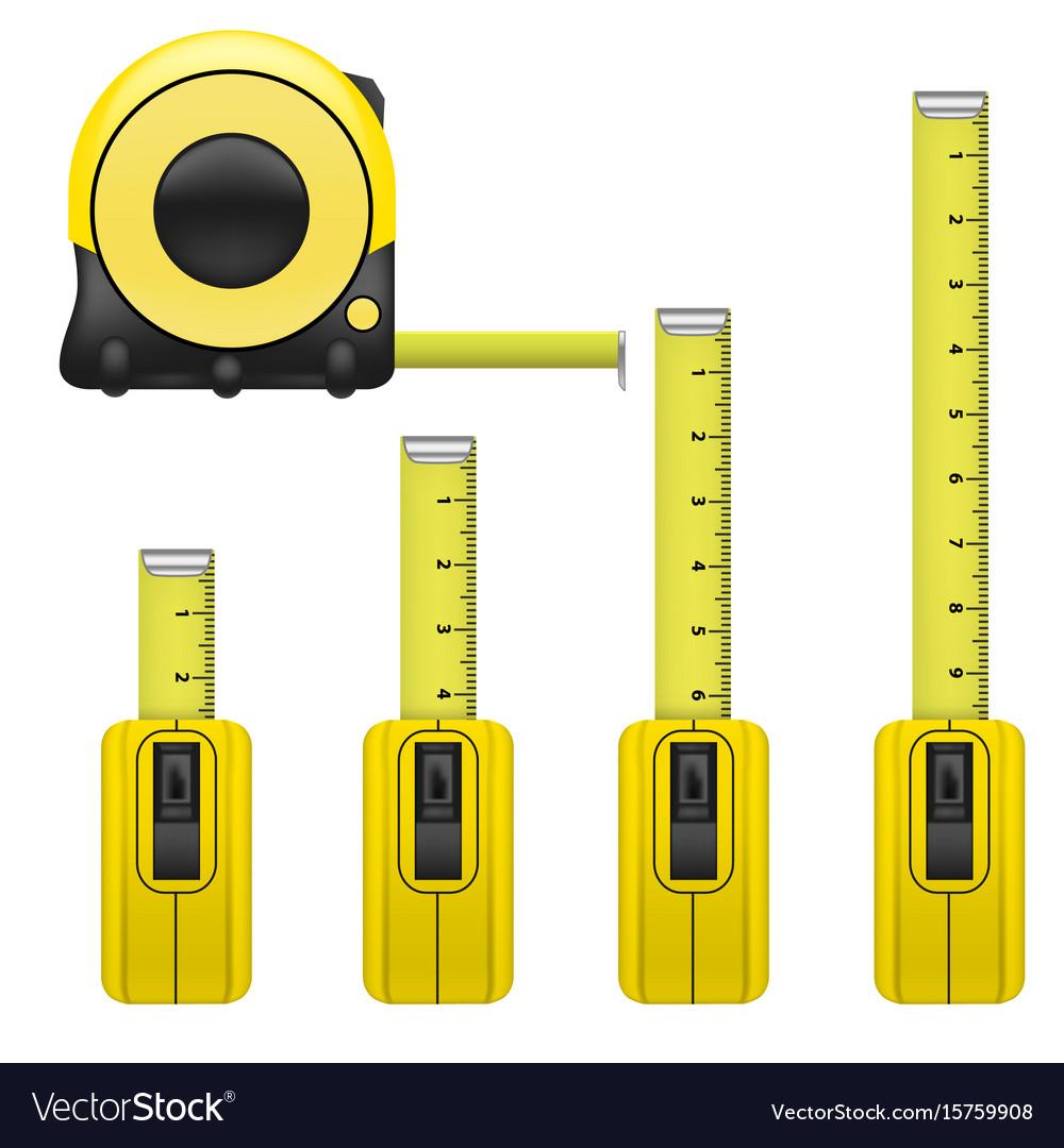 Realistic detailed measure tape set