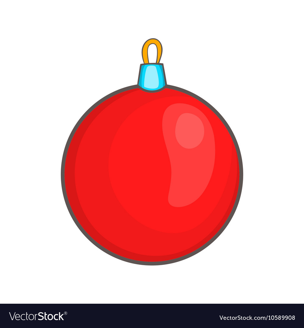 Red Christmas ball icon cartoon style