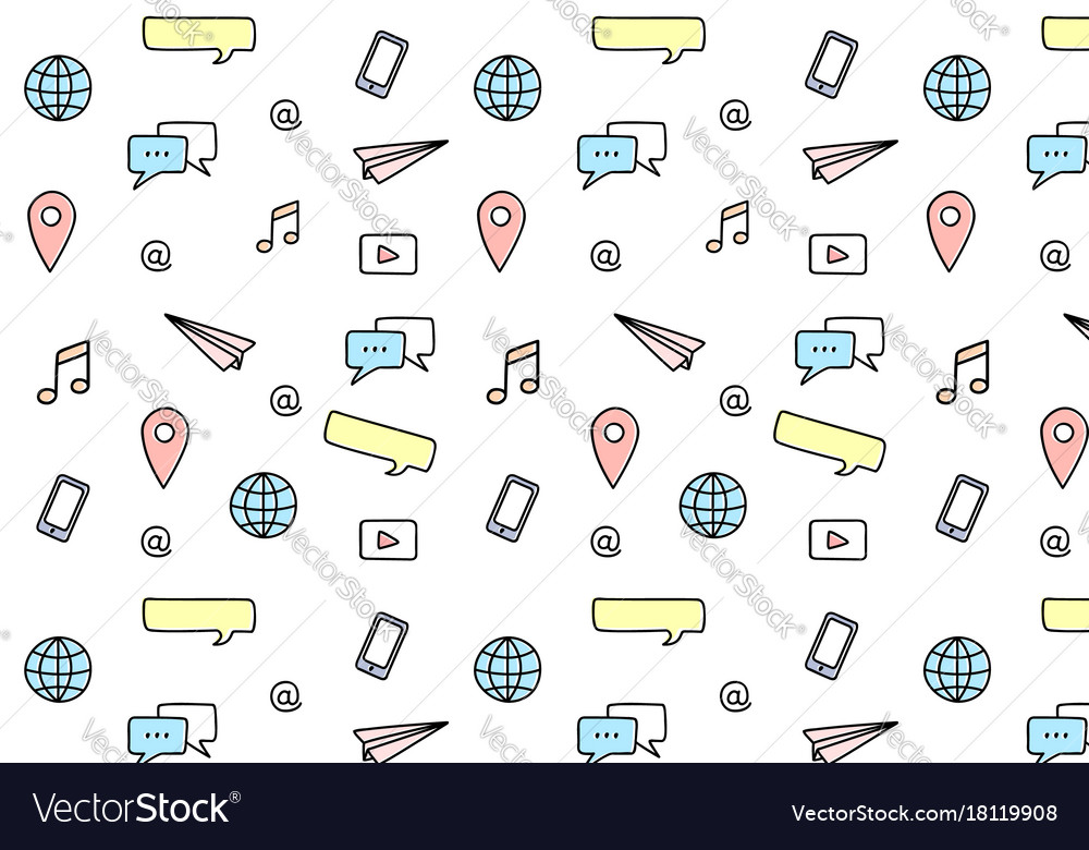 Social media pattern vector image