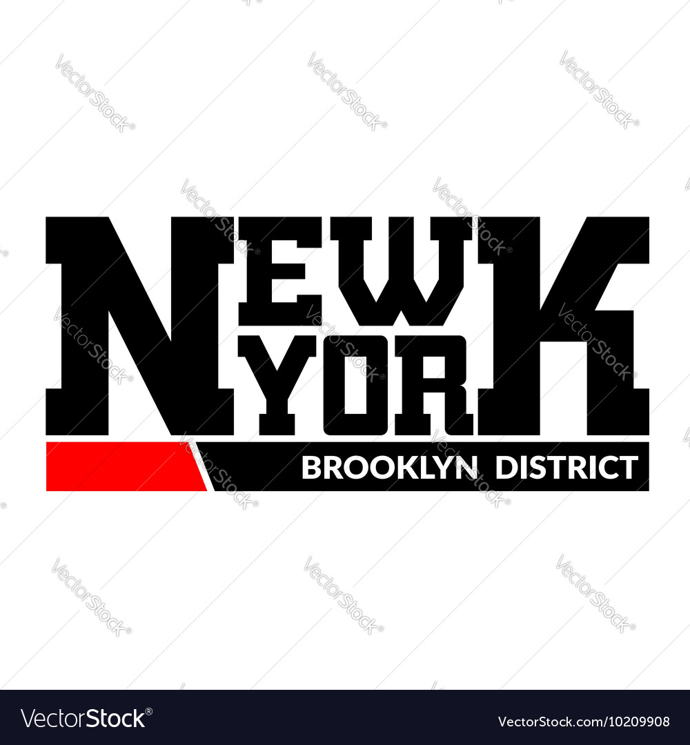 2ce8cb7a T shirt typography New York Brooklyn district Vector Image