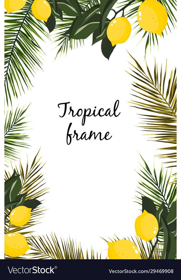 Watercolor frame tropical leaves and lemons