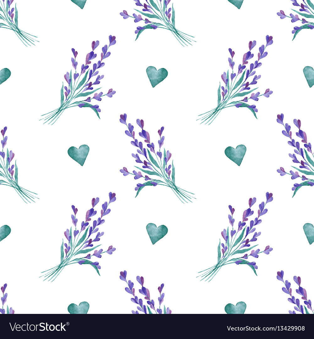 Watercolor pattern with lavender hand