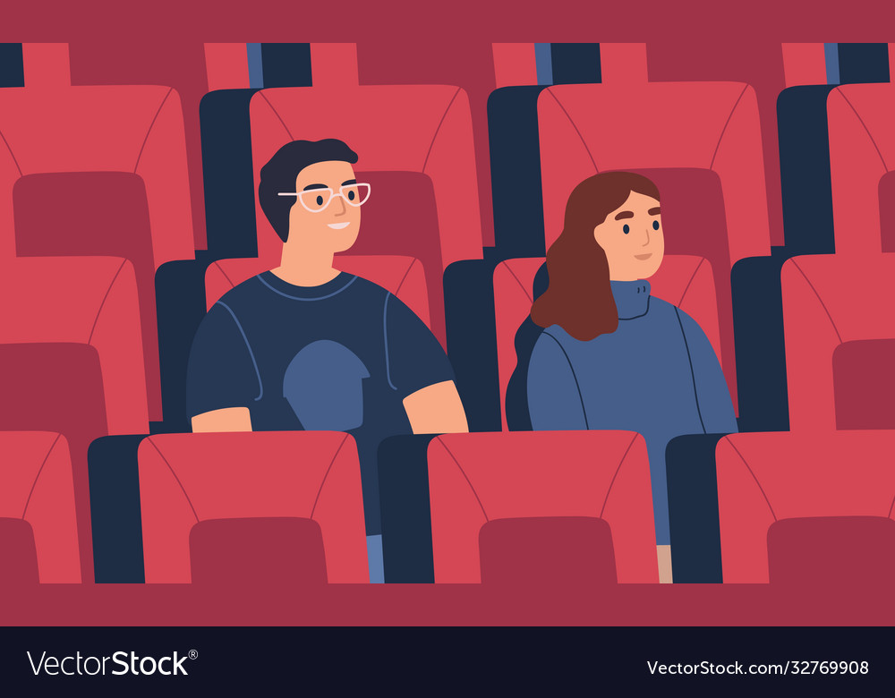 Young spectator couple friends watch film