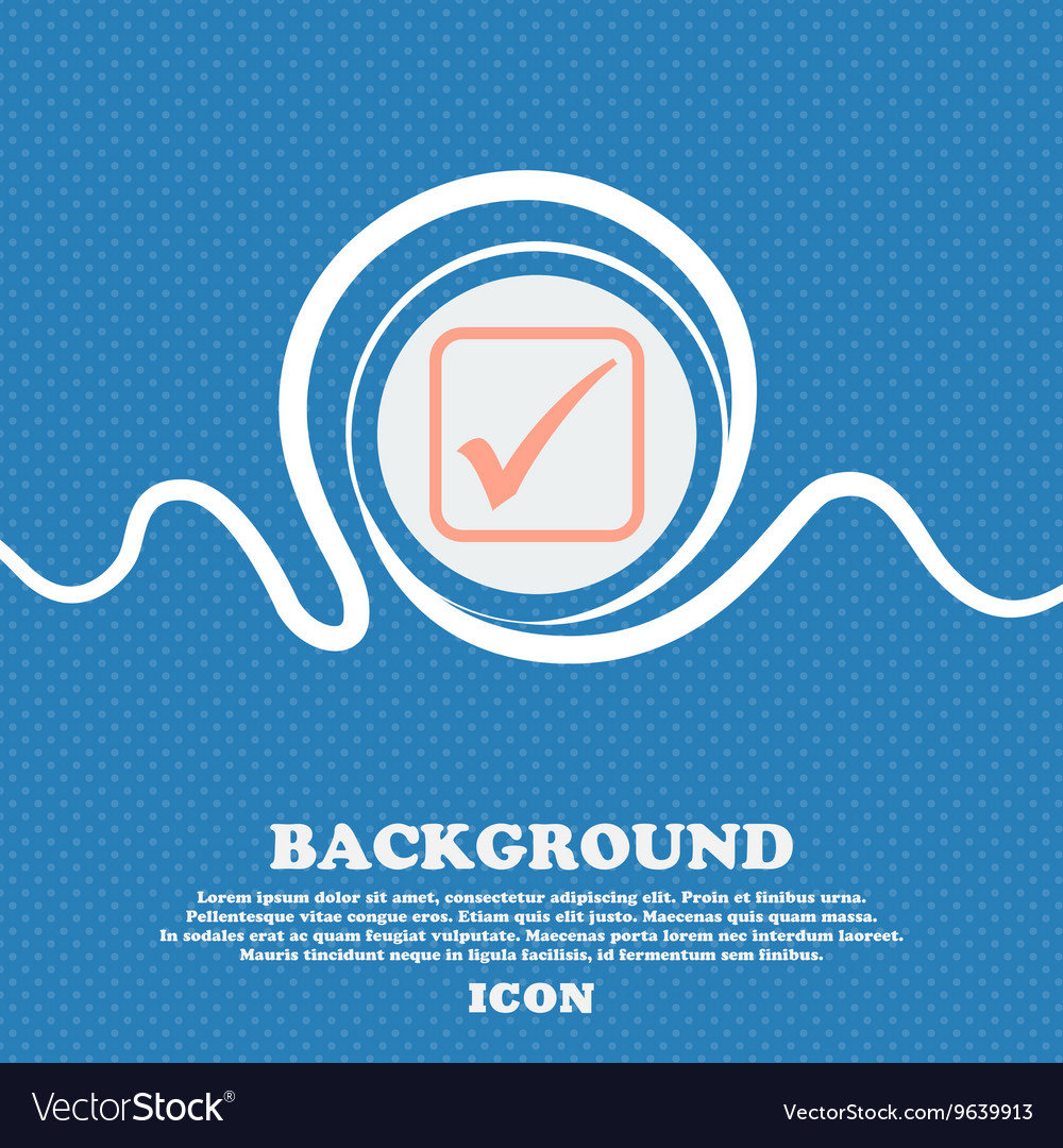 A check mark sign icon Blue and white abstract