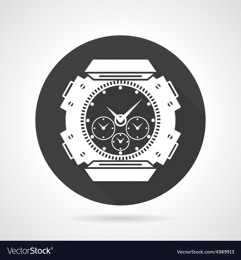 Black round icon for sport wrist watch
