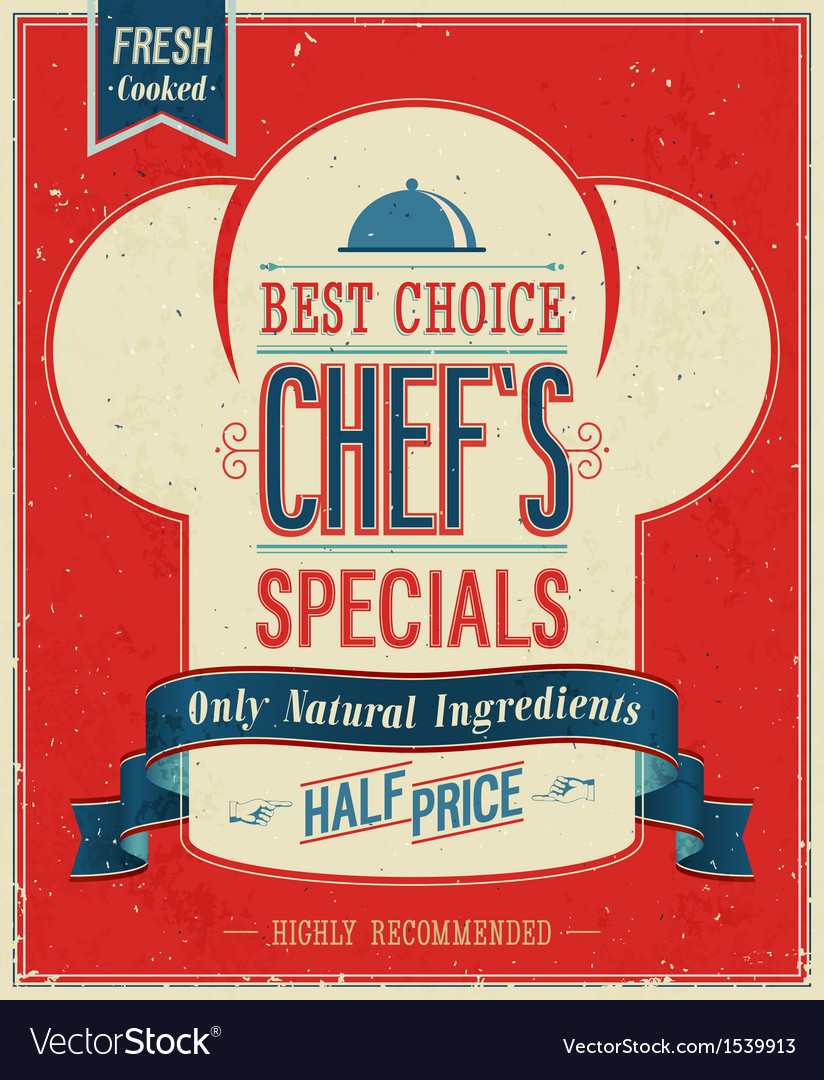 Chefs special color vector image