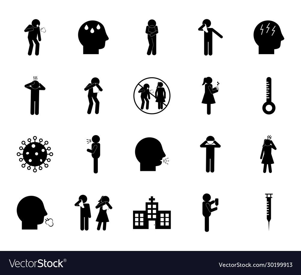 Covid19 19 silhouette style icon set design
