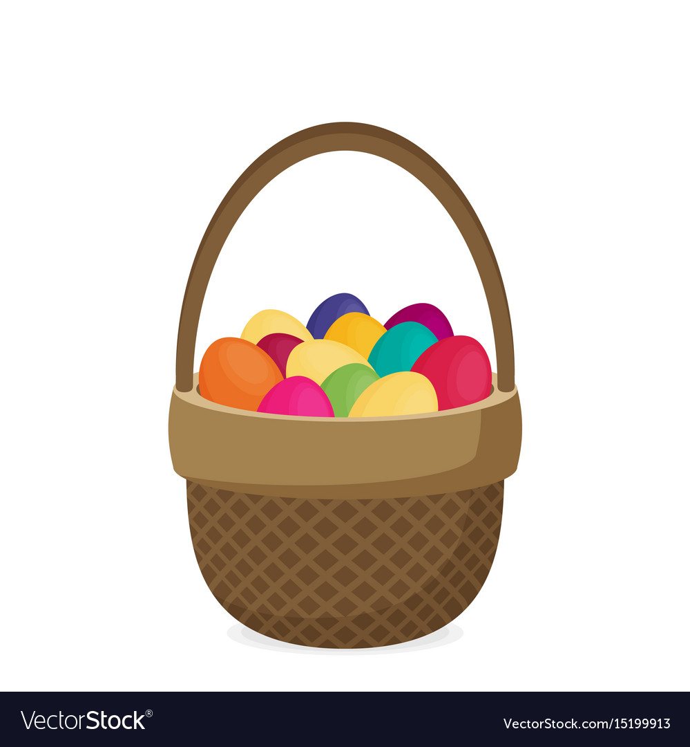 Flat eggs in wicker basket vector image