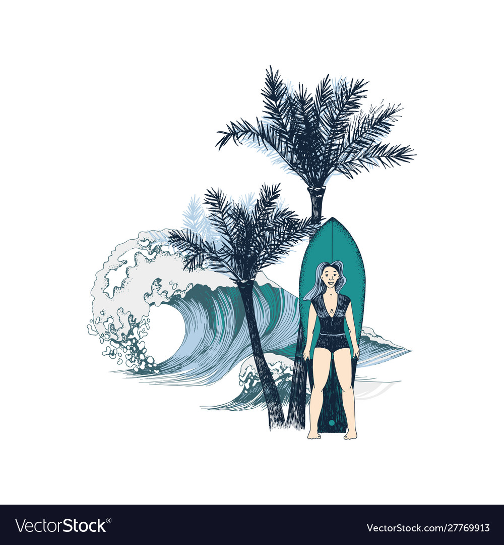 Hand drawn background with girl surfer on the