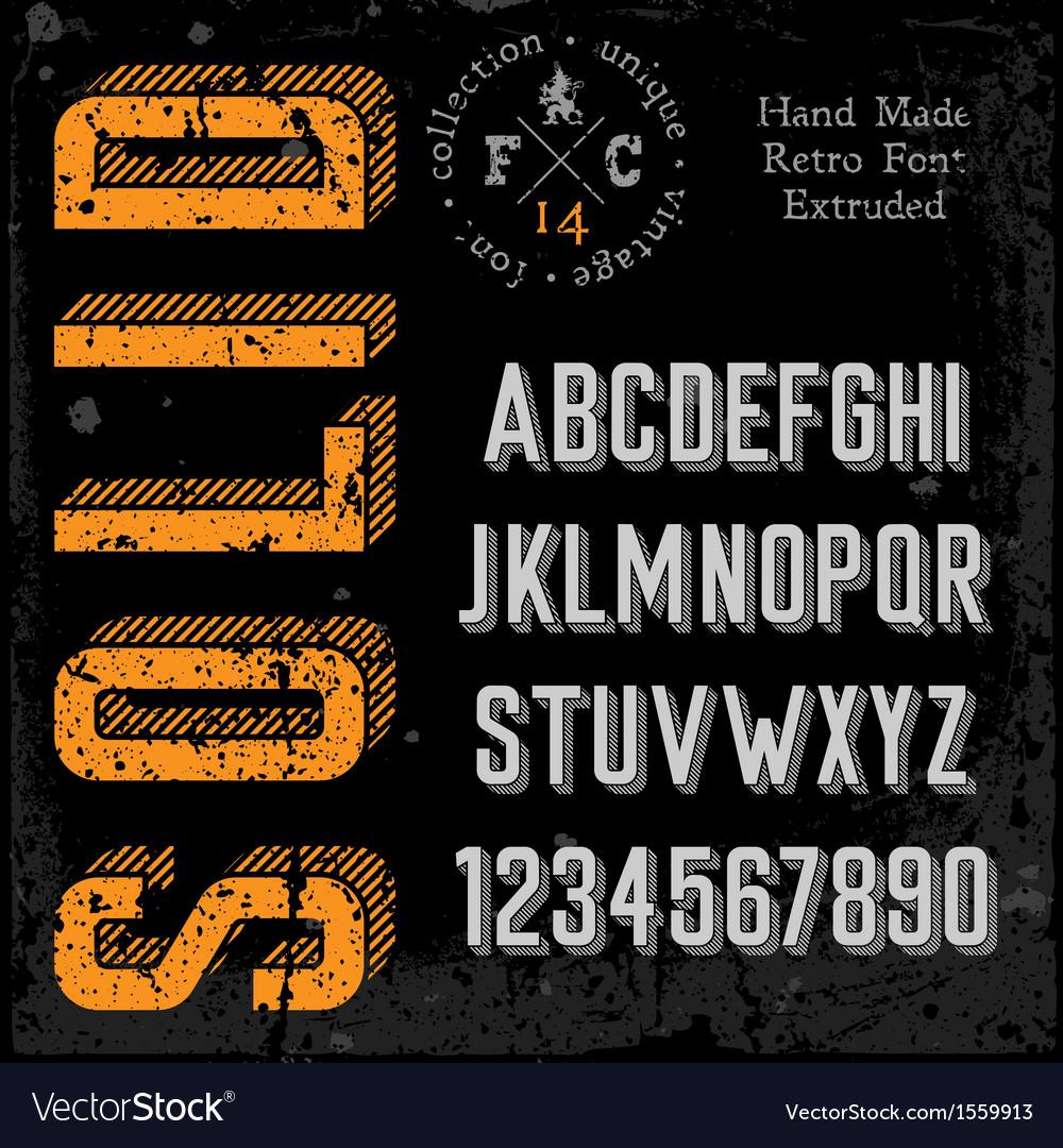 Handmade retro font extruded