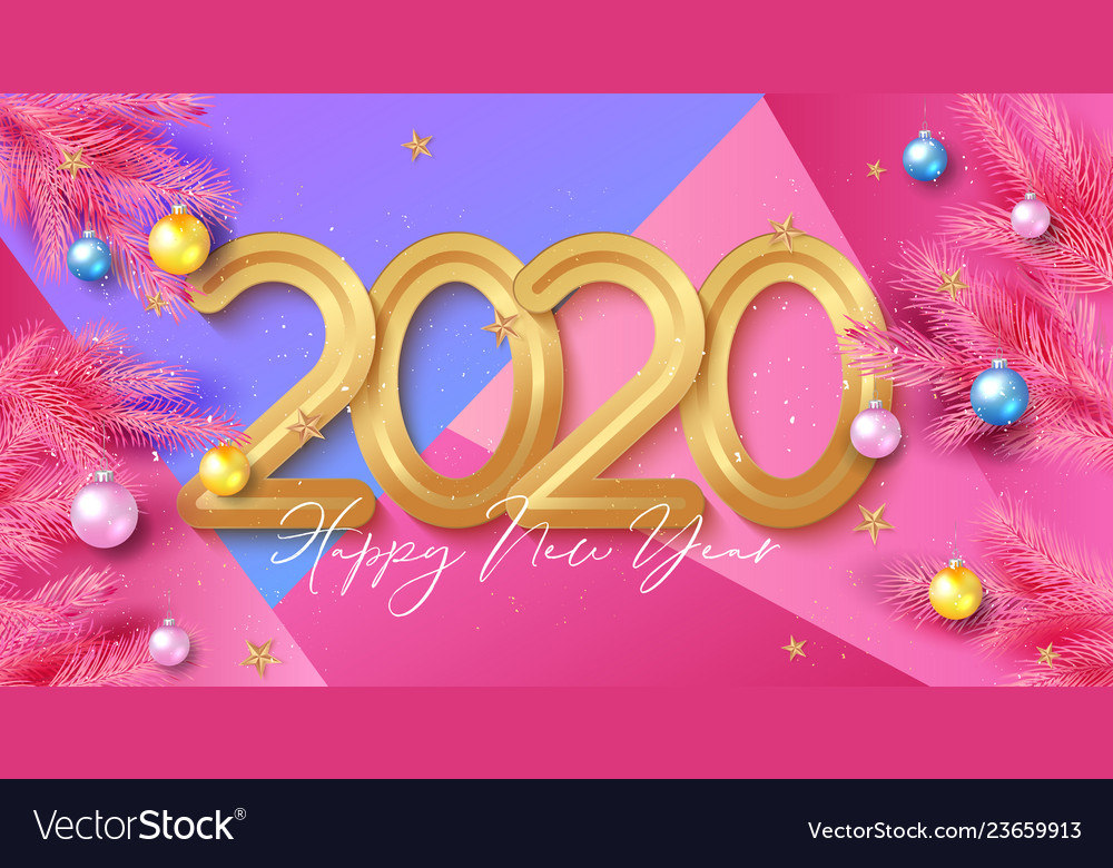 Happy new year background with gold 2020 numbers