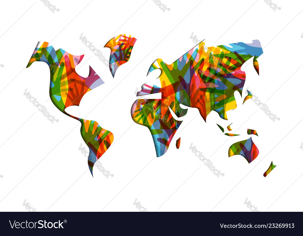 World Map On Hands.Human Solidarity Day World Map Hands Royalty Free Vector