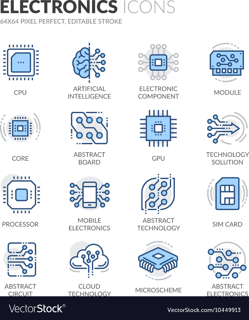 Line Electronics Icons vector image