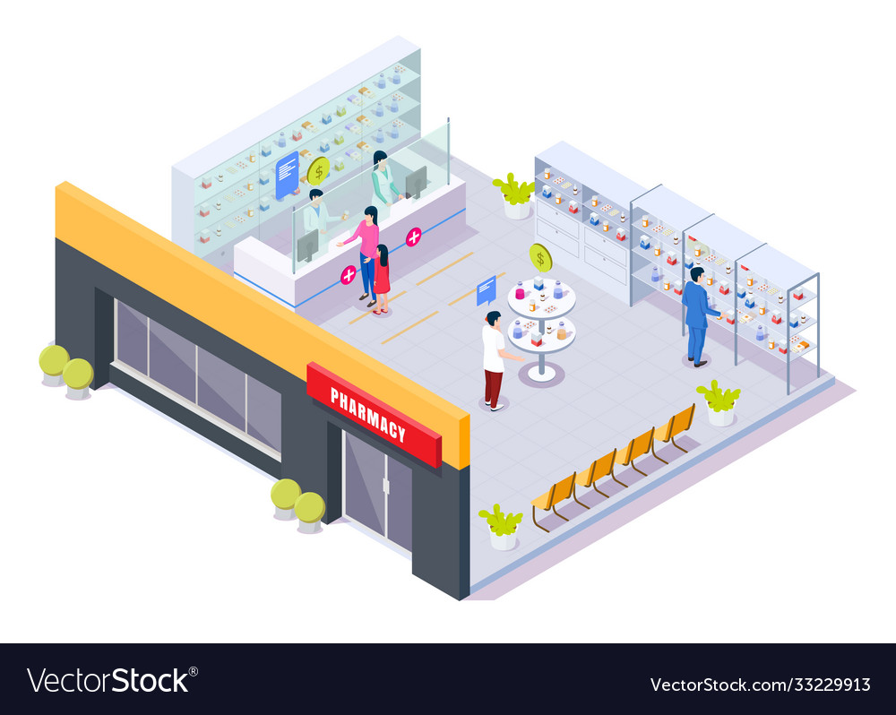 Pharmacy store interior with pharmacists