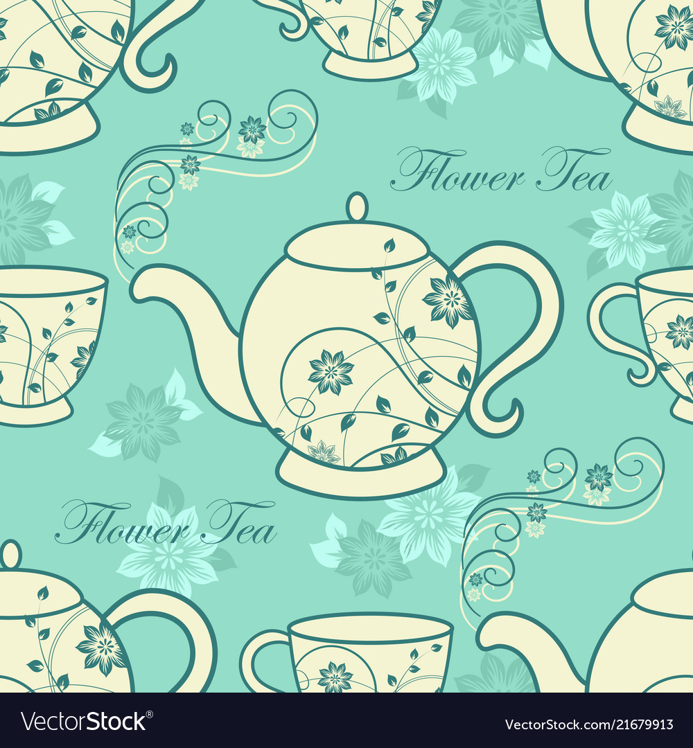 Seamless pattern with teapots and cups with floral