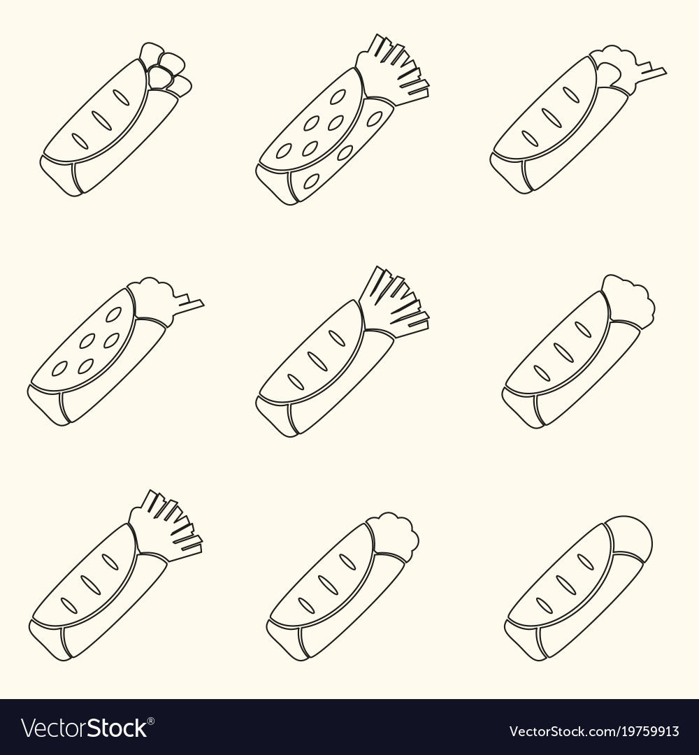 Set of outline tortilla food icons set eps10