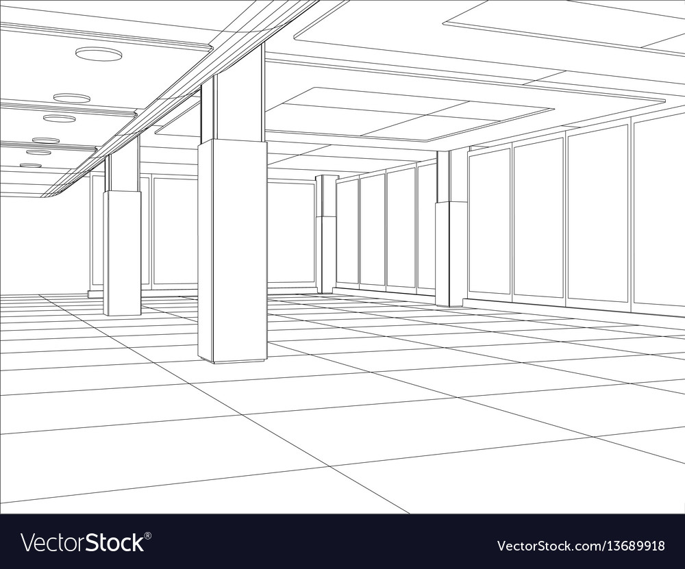 A modern interior room vector image