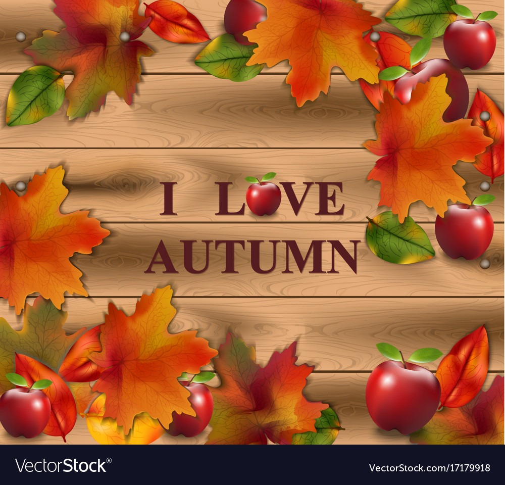 Autumn card leaves on wood background realistic