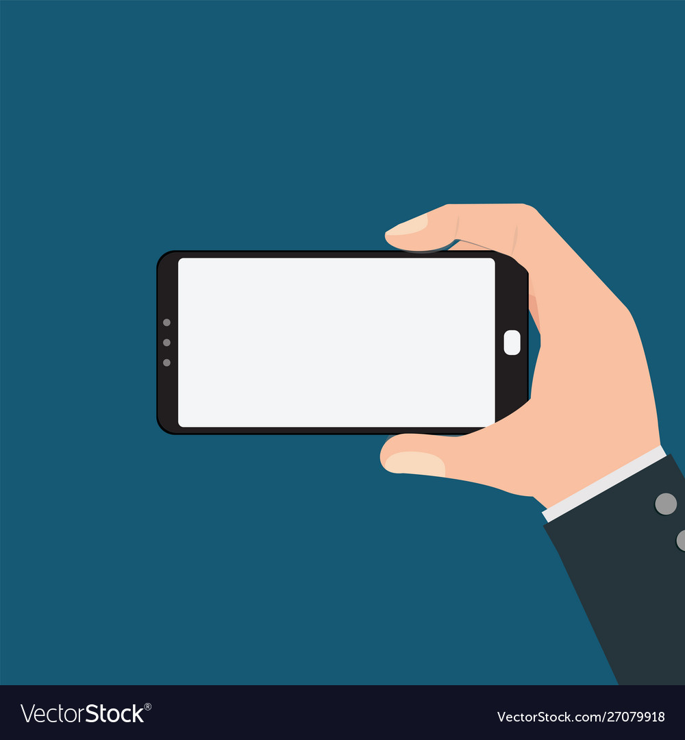 Businessman holding smartphone isolated on blue