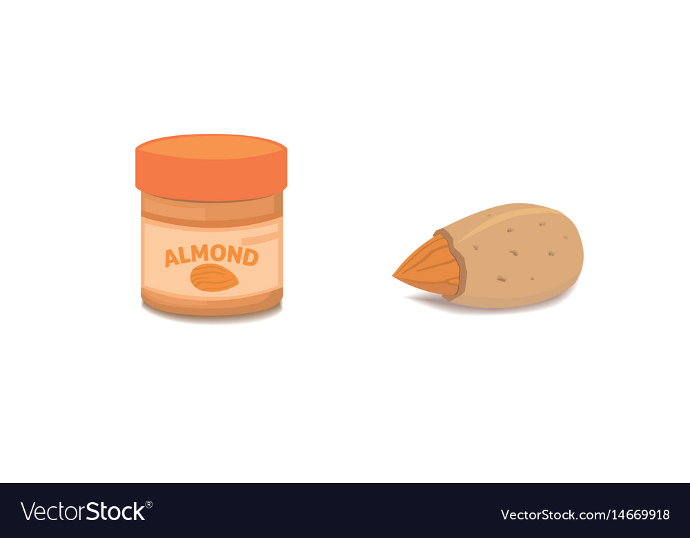 Collection of cartoon isolated almond