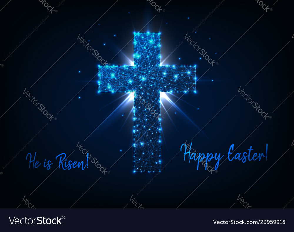 Easter greeting card with shining low poly cross