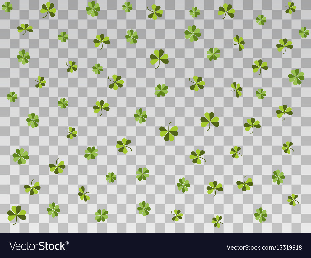 Falling clover on a transparent background