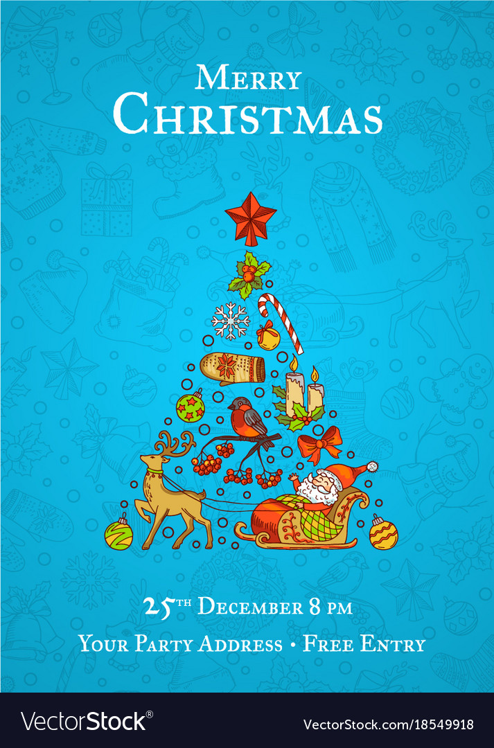 Hand drawn christmas elements with santa