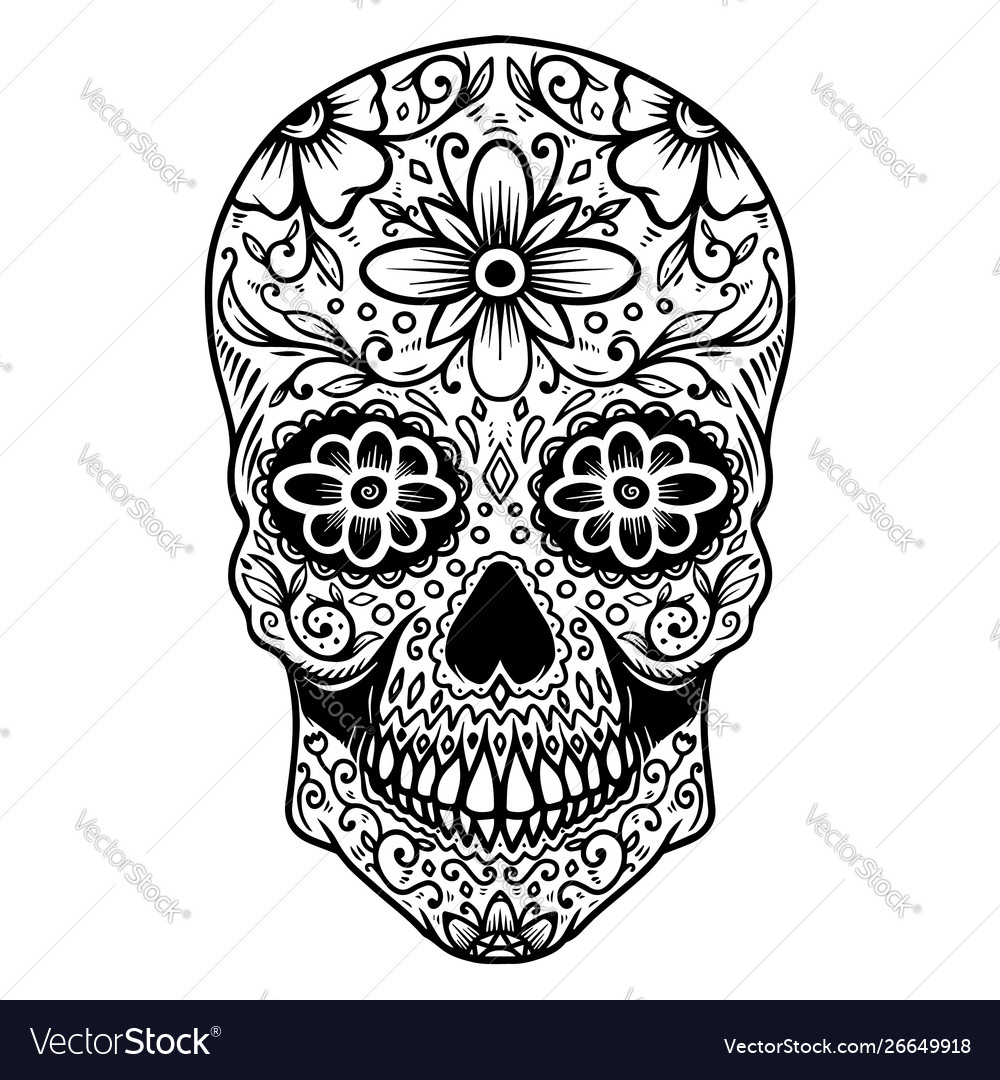 Hand drawn mexican sugar skull isolated on white