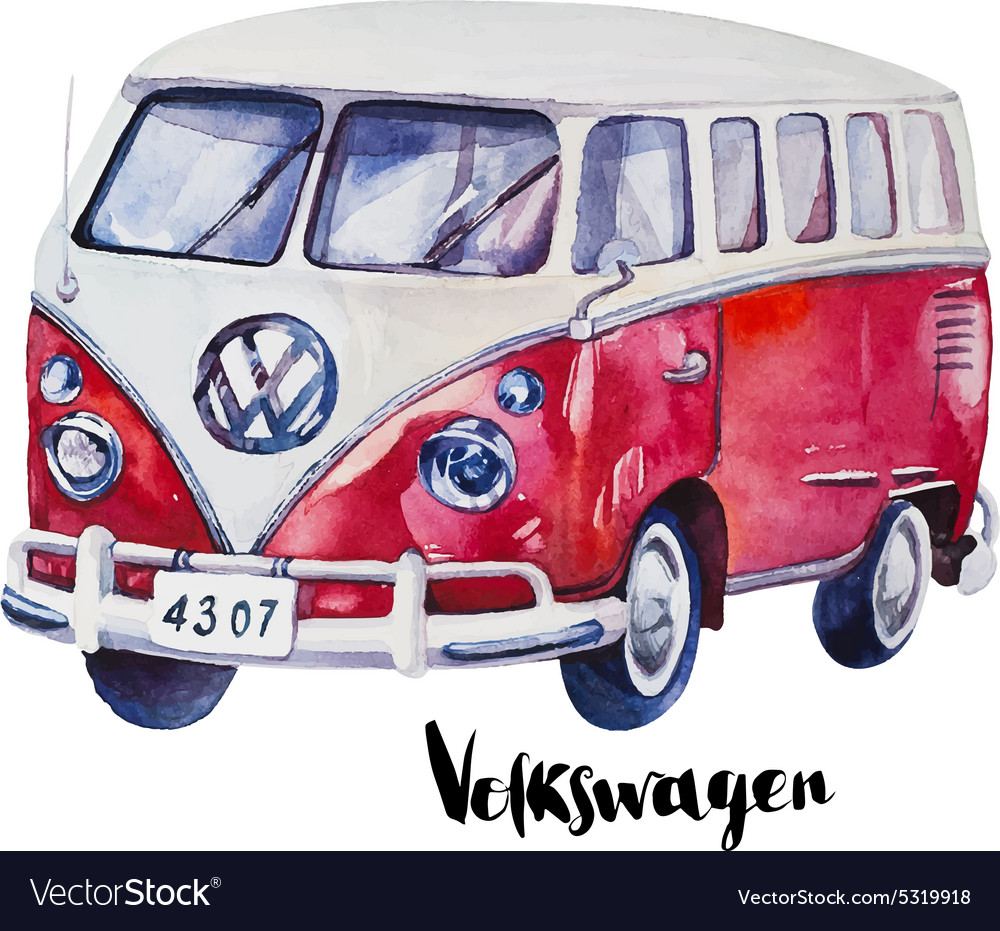 Hand painted watercolor vintage red car vector image