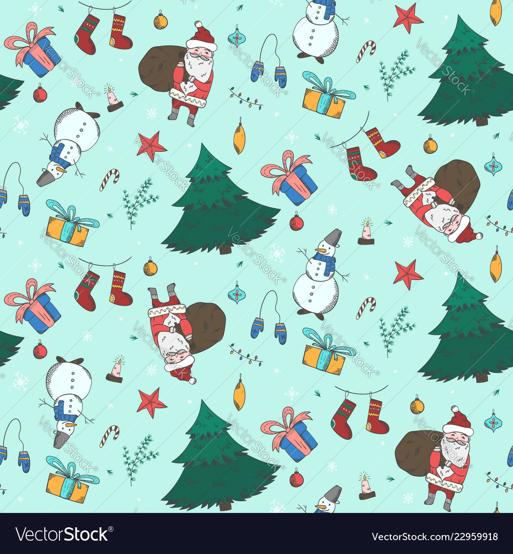 Light green christmas pattern with doodle elements