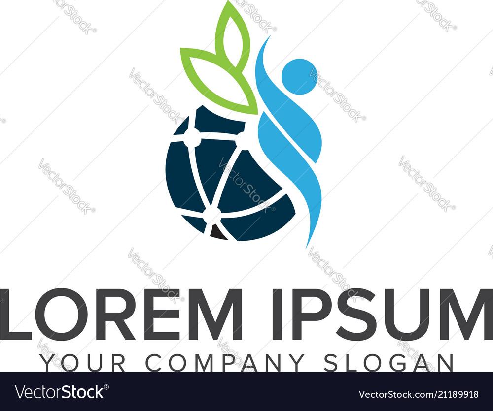 People globe logo design concept template