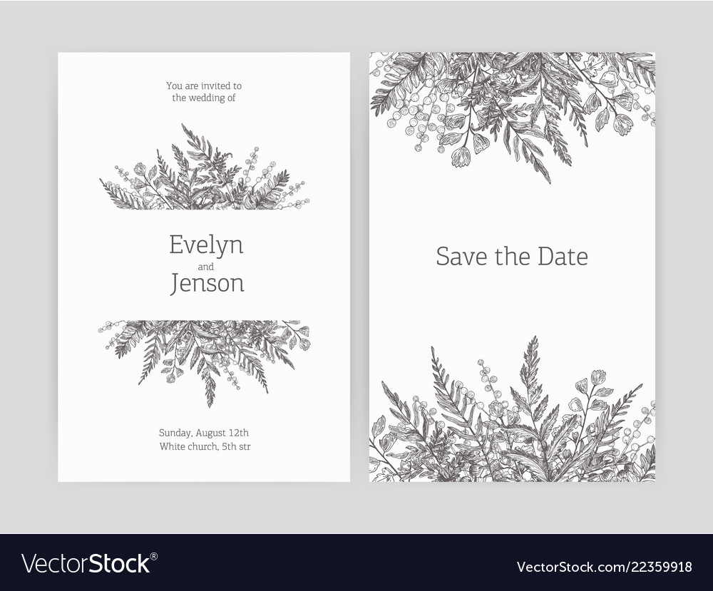 Set of floral wedding invitation and save the date