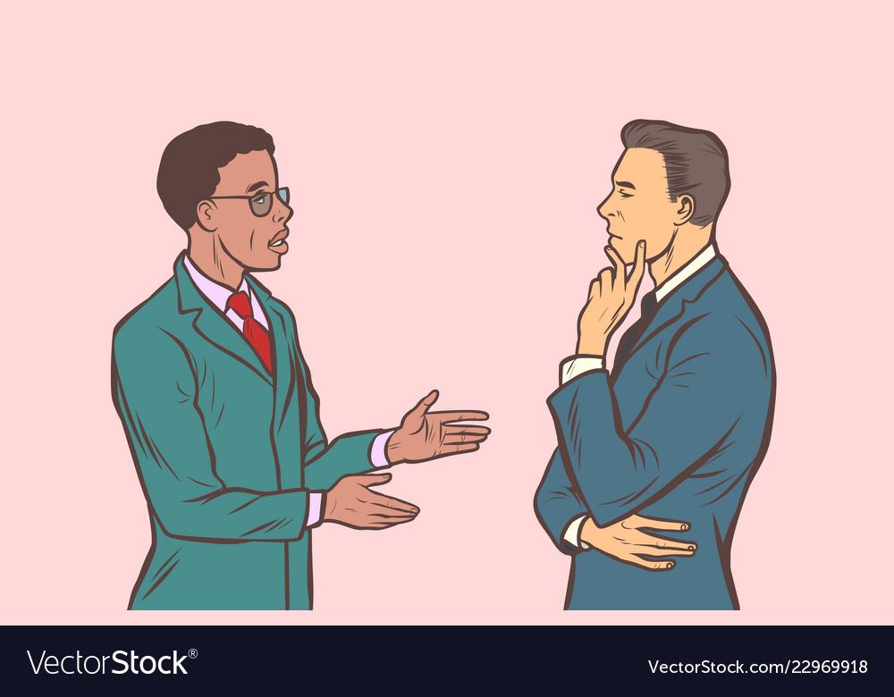 Two businessmen talking multi ethnic group