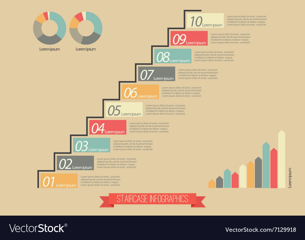 Vintage staircase infographic