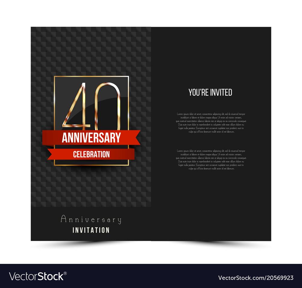 40th Anniversary Invitation Card Template