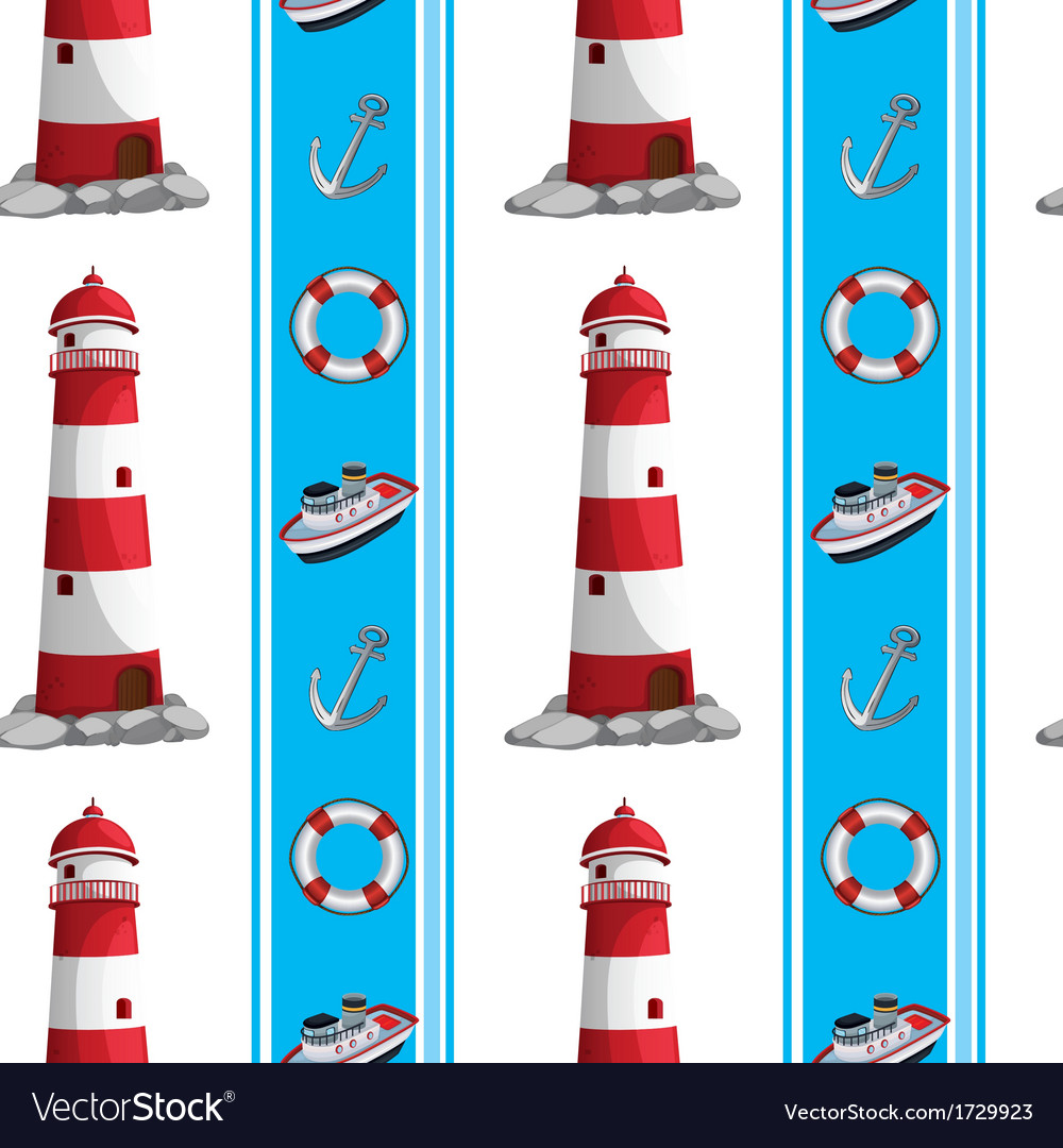 A seamless design with lighthouses and other
