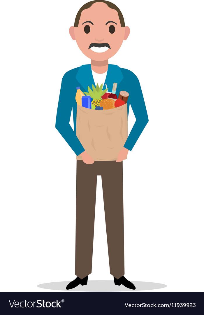 Cartoon man with market paper bag full food