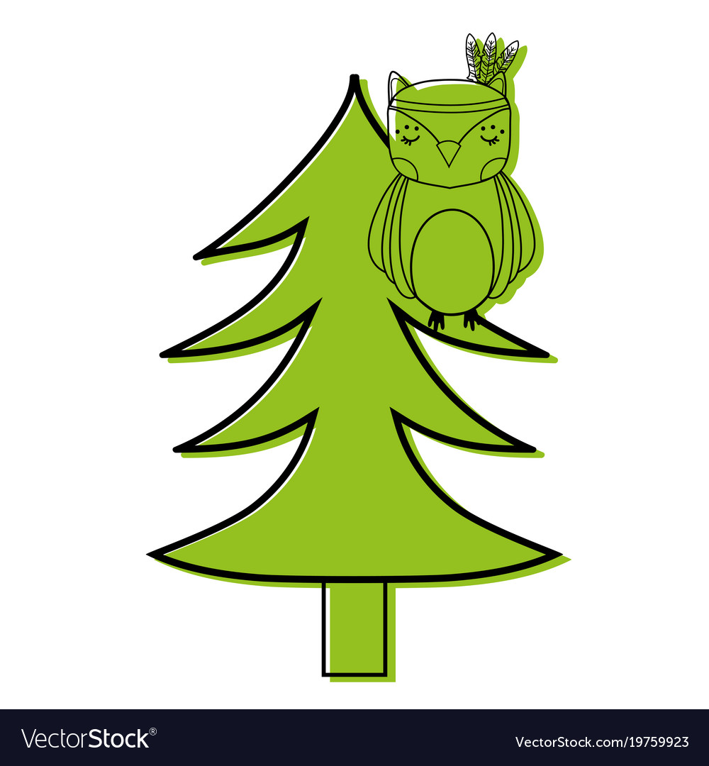 Color ethnic owl animal in pine tree Royalty Free Vector