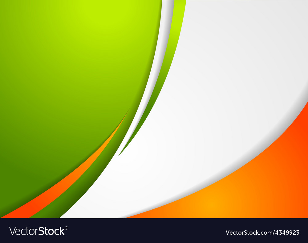 Corporate wavy abstract background Irish colors vector image