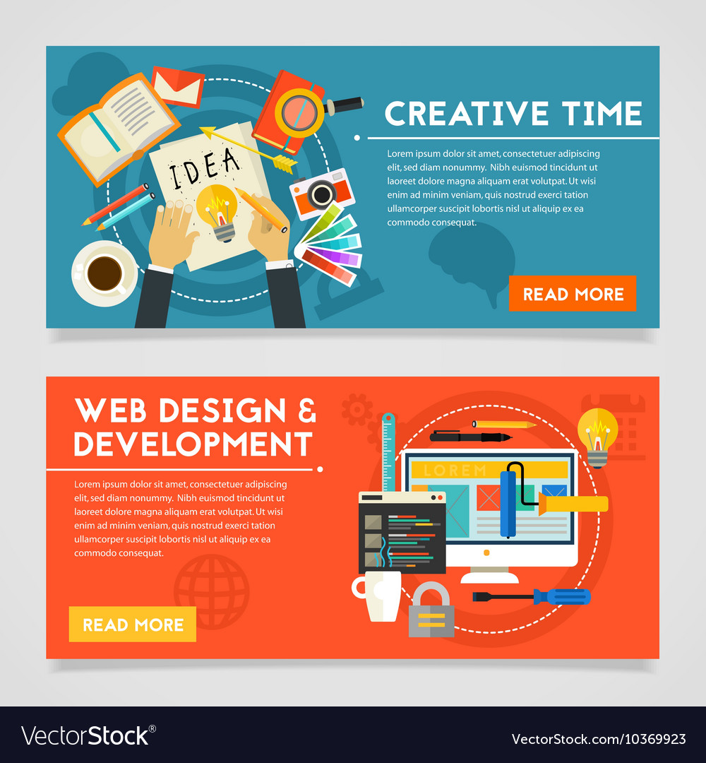 Creative Time And Web Design Development Concept Vector Image