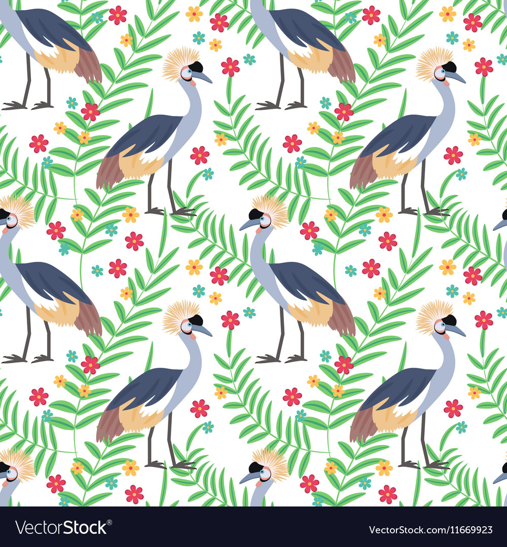 Crowned crane seamless pattern background